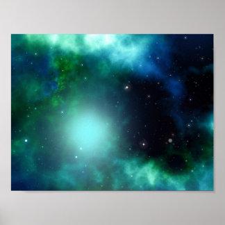 Nebulosa verde hermosa llenada de las estrellas póster