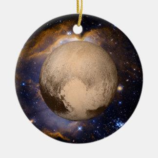 Nebulosa y estrellas de la galaxia del corazón de adorno navideño redondo de cerámica