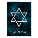 Nebulosas azules de Mitzvah de la barra y estrella Tarjeton