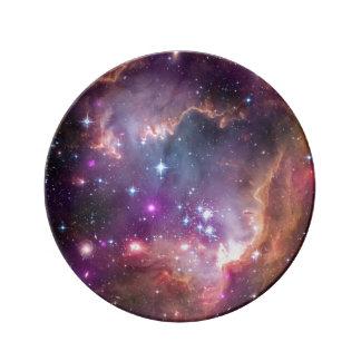 Nebulosas galácticas de la púrpura del espacio plato de cerámica