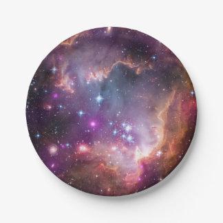 Nebulosas galácticas de la púrpura del espacio platos de papel