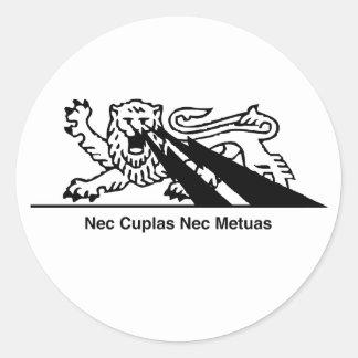 Nec Metuas del Nec Cuplas Pegatinas Redondas