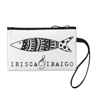 Neceser with key ring illustration black and white coin wallet