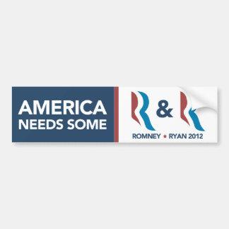 Necesidad de Romney Ryan América un cierto R y par Pegatina Para Auto