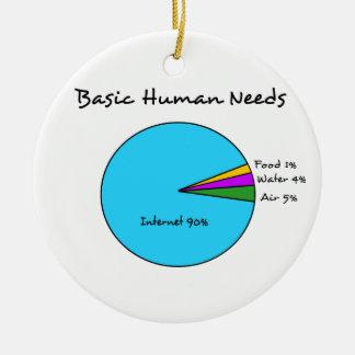Necesidades básicas divertidas del ser humano de adorno navideño redondo de cerámica