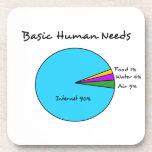 Necesidades básicas divertidas del ser humano de e posavasos de bebidas