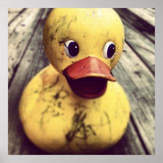 ¡Necesidades Ducky de goma amarillas un baño! Póster