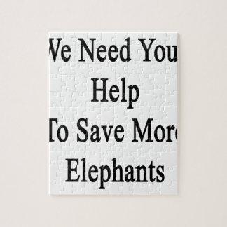 Necesitamos su ayuda ahorrar más elefantes puzzle