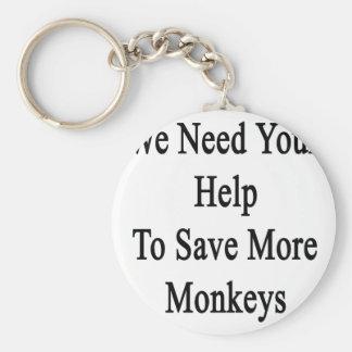 Necesitamos su ayuda ahorrar más monos llavero redondo tipo pin