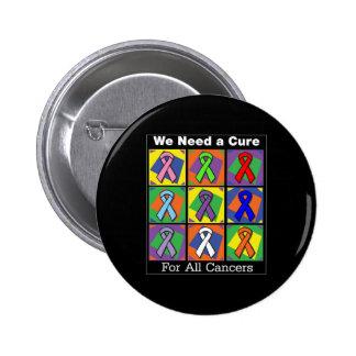 Necesitamos una curación para todos los cánceres pin redondo de 2 pulgadas