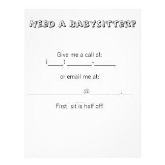¿Necesite a una nin@era? Tarjetas Publicitarias
