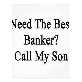Necesite la mejor llamada del banquero mi hijo plantilla de membrete