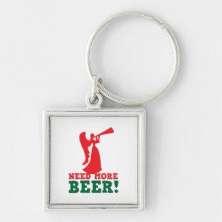 Necesite más cerveza llavero cuadrado plateado