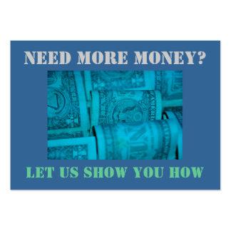 ¿Necesite más dinero? Chisporrotee la tarjeta Tarjetas De Visita Grandes