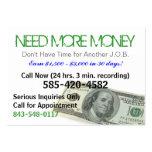 Necesite más tarjeta del chisporroteo del dinero tarjetas de visita grandes