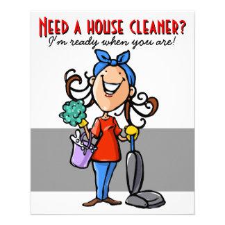 """¿Necesite un limpiador de la casa? Aviador de Folleto 4.5"""" X 5.6"""""""