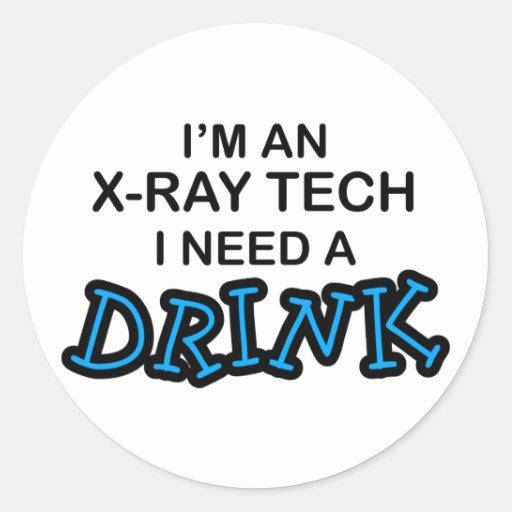 Necesite una bebida - tecnología de la radiografía pegatina redonda