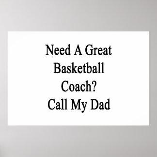 Necesite una gran llamada del entrenador de poster