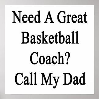 Necesite una gran llamada del entrenador de posters