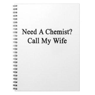Necesite una llamada del químico mi esposa spiral notebook