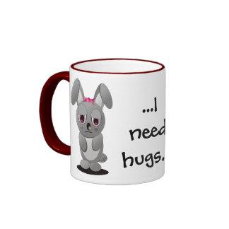 Necesito abrazos taza de dos colores