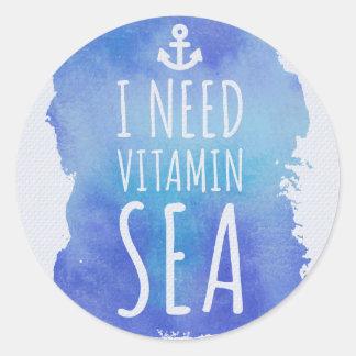 Necesito cita del mar de la vitamina pegatina redonda