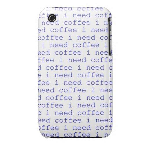 Necesito el café, caso de Iphone 4 de los amantes iPhone 3 Case-Mate Funda