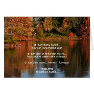 Necesito hora de trabajar en mí mismo… relaciones tarjeta de felicitación