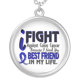 Necesito mi cáncer de colon del mejor amigo collar plateado
