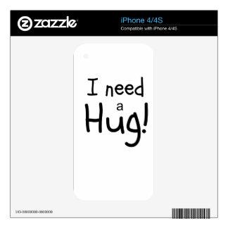 ¡Necesito un abrazo!  Arte minimalista Skins Para iPhone 4