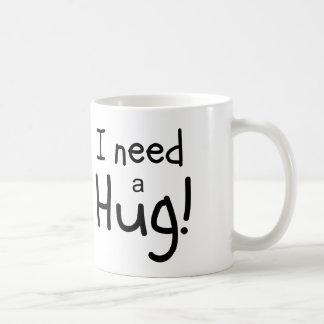 ¡Necesito un abrazo!  Arte minimalista Taza