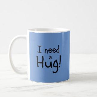 ¡Necesito un abrazo!  Arte minimalista Taza Clásica