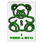 Necesito un verde del oso del abrazo los regalos d tarjeta