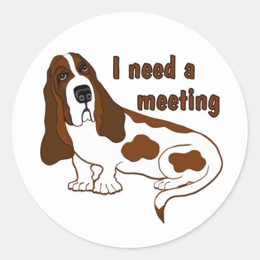 Necesito una reunión pegatina redonda