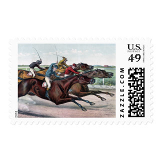 Neck and Neck: Horses Racing stamp