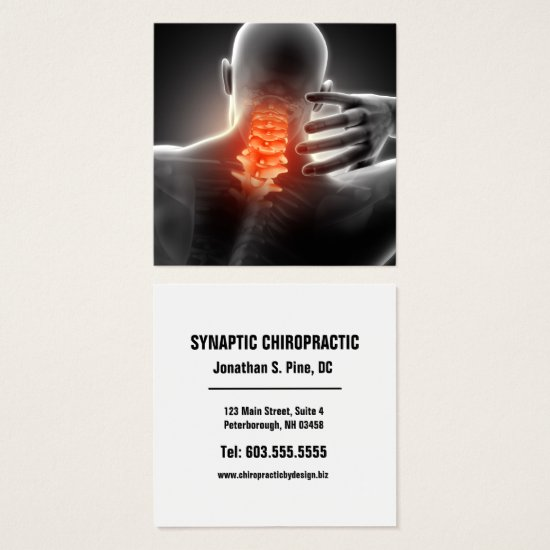 Neck Pain Photo Graphic Square Chiropractic Square Business Card
