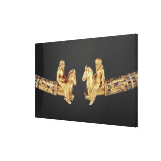 Neck ring in the form of Scythian horsemen Canvas Print