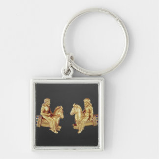 Neck ring in the form of Scythian horsemen Silver-Colored Square Keychain