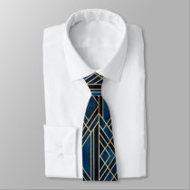Neck Tie - Art Deco Blue & Gold Mirrored