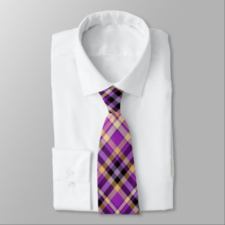 Neck Tie - Purple and Yellow Tartan Pattern Tie