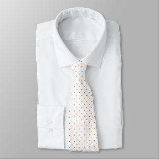 Neck Tie White with Orange Dots