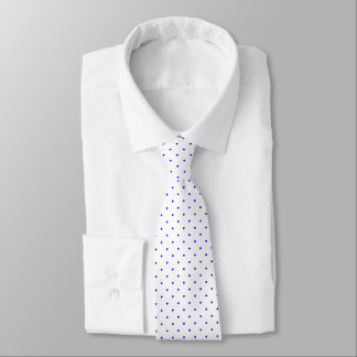 Neck Tie White with Royal Blue Dots