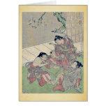 Neck tug of war by Kitao, Shigemasa Ukiyoe Greeting Cards