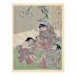 Neck tug of war by Kitao, Shigemasa Ukiyoe Post Card