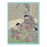 Neck tug of war by Kitao, Shigemasa Ukiyoe Post Cards
