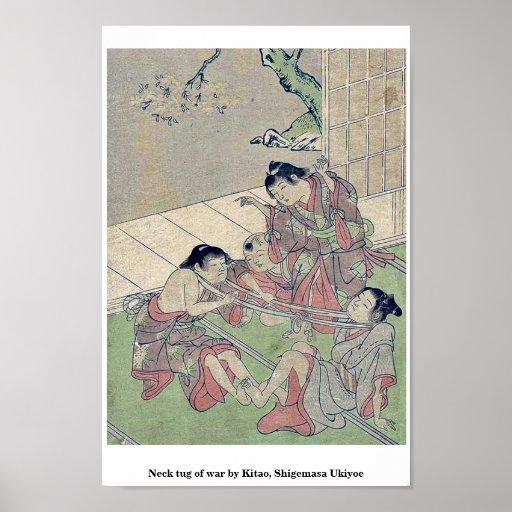 Neck tug of war by Kitao, Shigemasa Ukiyoe Poster