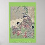 Neck tug of war by Kitao, Shigemasa Ukiyoe Print