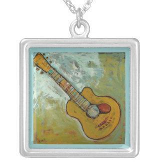 neckalce de oro de la guitarra colgante cuadrado