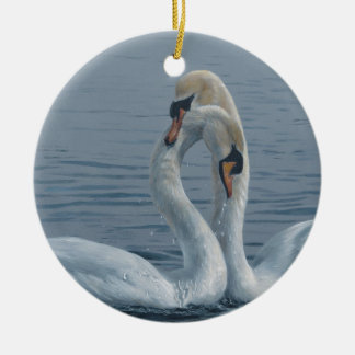Necking Swans by Terry Isaac Ceramic Ornament