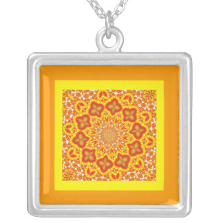 Necklace-Abstract/Misc-Orange Tile Square Pendant Necklace
